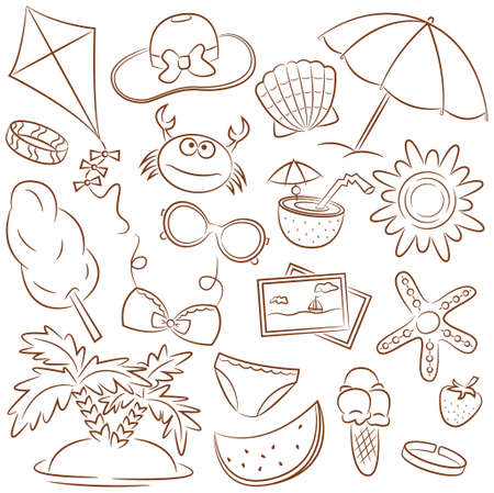 Summer Beach Rest Doodle Icons Set Vector
