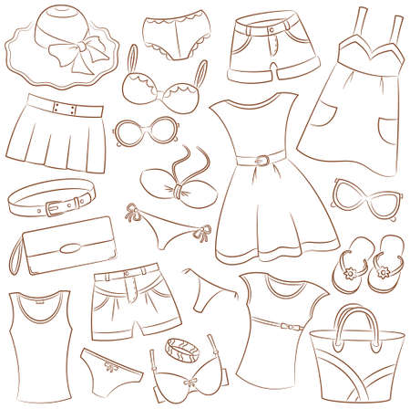 Collection of summer womenwear and accessories Vector