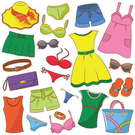 Collection of summer womenwear and accessories Illustration
