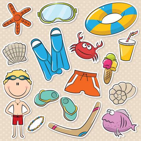 Summer Beach Rest Boy Stickers Set Vector