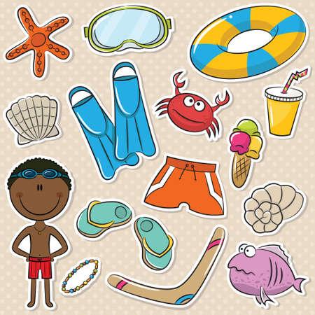 Summer Beach Rest African-American Boy Stickers Set Vector