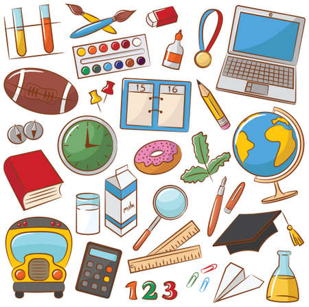 Collection d'icônes de l'enseignement scolaire Banque d'images - 30897670