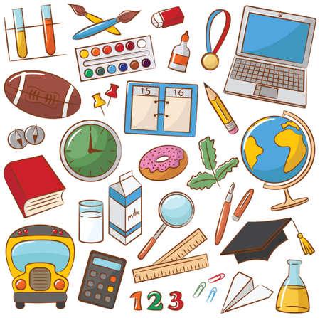 Verzameling van school onderwijs pictogrammen Stock Illustratie