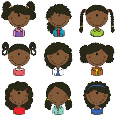 African-American girls avatar useful for Social network 矢量图像
