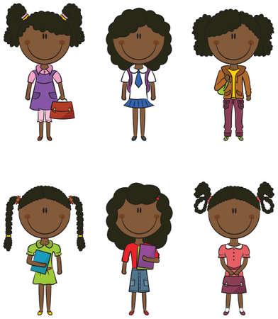 ni�as peque�as: Inteligentes ni�as de la escuela afroamericanos lindos con libros y bolsas
