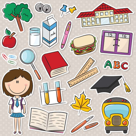 smart girl: Cute smart school girl with tools and objects