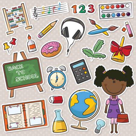 scores: Cute African-American school girl with different education tools Illustration