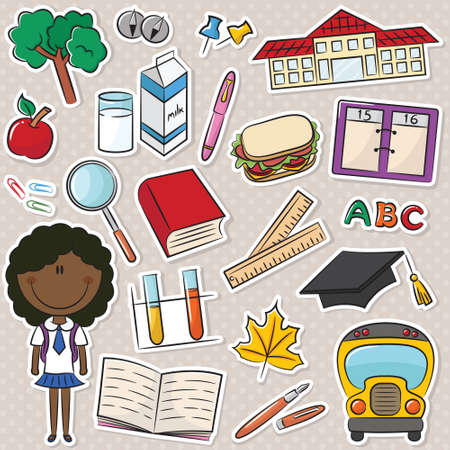 smart girl: Cute smart African-American school girl with tools and objects