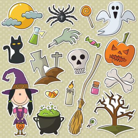 brujas caricatura: Linda chica como una bruja de Halloween con objetos pegatinas conjunto