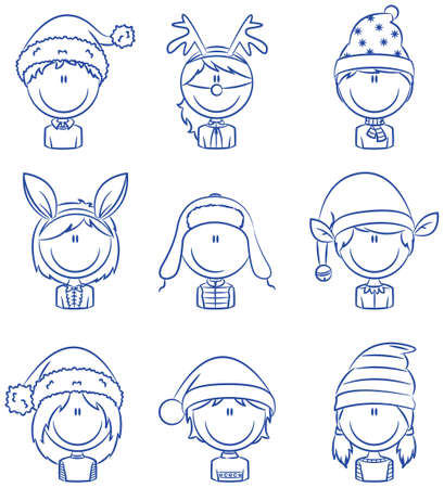 Collection of cute Cristmas children avatars Vector
