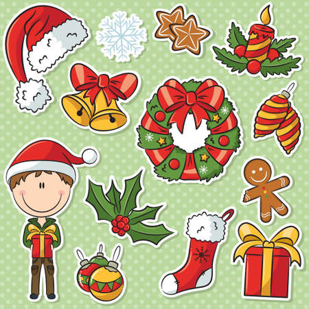 Cute Santa Boy With Christmas Gifts And Decorations Sticker Set Vector