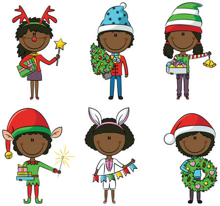 santa girl: Cristmas African-American children with gifts and decorations
