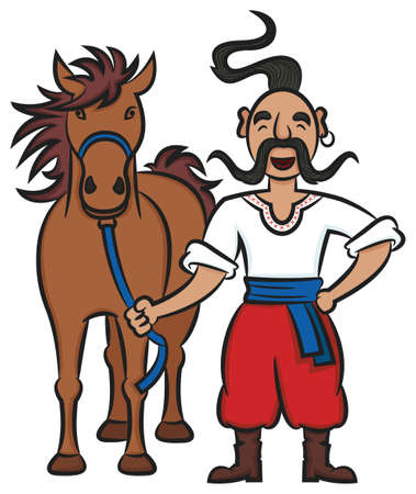 Happy Ukrainian Cossack Standing With A Brown Horse