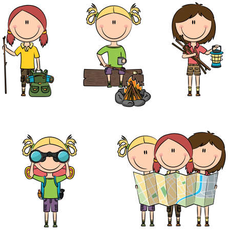 brushwood: Cute and smart camping girls isolated on white Illustration