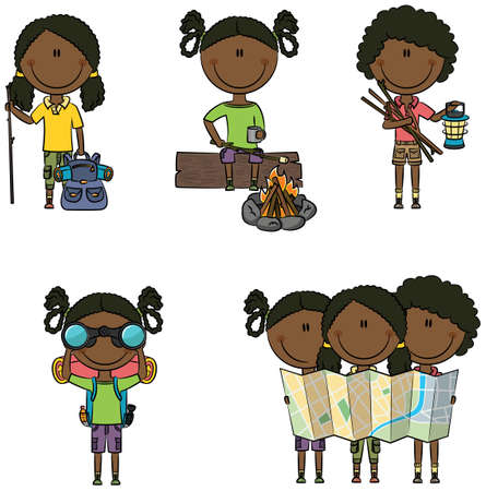 girl with bag: Cute and smart African-American camping girls isolated on white Illustration