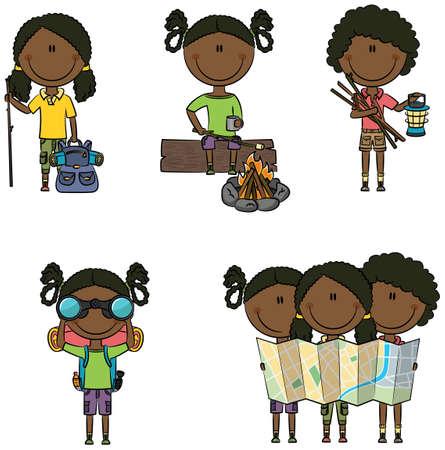 black girl: Niedlich und intelligent, African-American camping Mädchen isoliert auf weißem