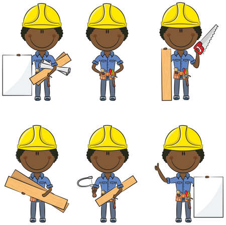 carpenter tools: Collection of cute and smart African-American carpenters