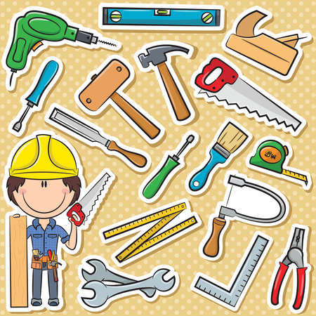 carpenter tools: Cute and smart carpenter with tools