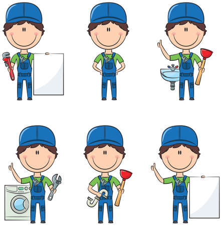 pipefitter: Cute and smart plumber with tools