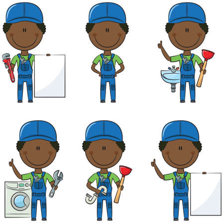 pipefitter: Cute and smart African-American plumber Illustration