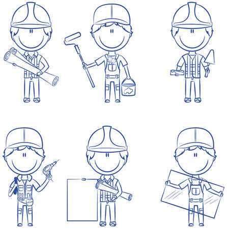 glasscutter: Collection of construction workers: architect, painter, bricklayer, electrician, glazier
