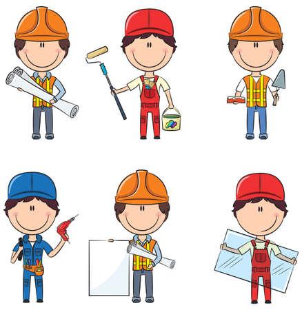 建設労働者のコレクション: 建築家、画家、煉瓦工、電気技師、ガラス屋  イラスト・ベクター素材