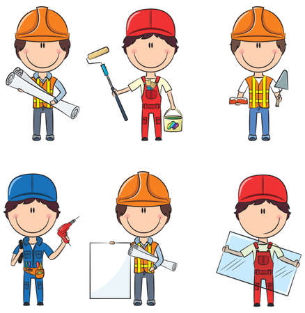 cartoon human: Collection of construction workers: architect, painter, bricklayer, electrician, glazier