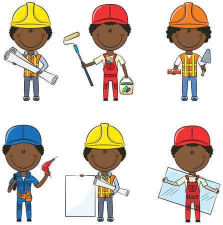 Collection of African-American construction workers: architect, painter, bricklayer, electrician, glazier