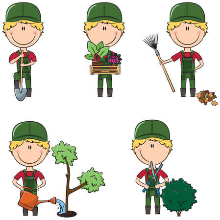 situations: Cute and smart gardeners in different situations
