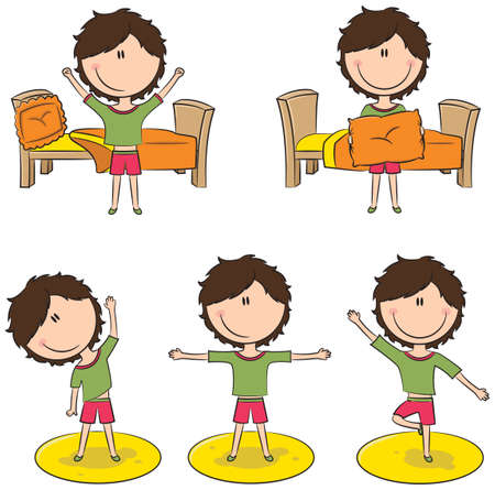 smart girl: Cute and smart girl perform morning activities