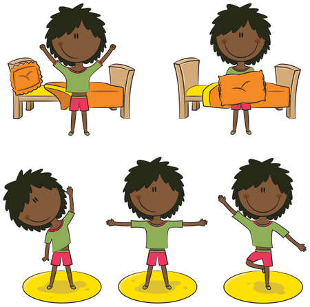 perform: Cute african-american girl perform morning activities