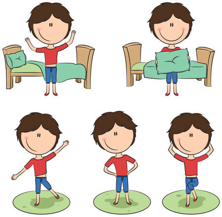 smart boy: Cute and smart boy perform morning activities