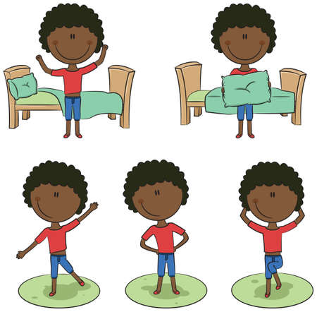 smart boy: Cute and smart African-American boy perform morning activities
