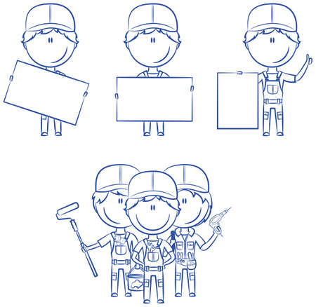 glasscutter: Collection of construction workers with banners: painter, electrician, plumber Illustration