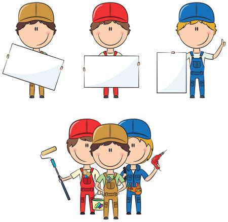 worker cartoon: Colección de trabajadores de la construcción con las banderas: pintor, electricista, fontanero Vectores