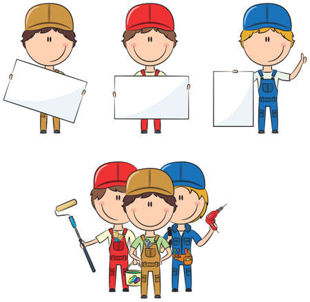 foreman: Collection of construction workers with banners: painter, electrician, plumber Illustration
