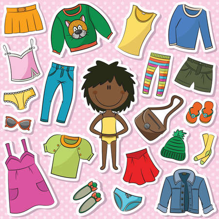 cartoon kid: A collection of casual clothes for girls