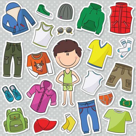 ropa interior: Una colección de ropa casual para niños Vectores