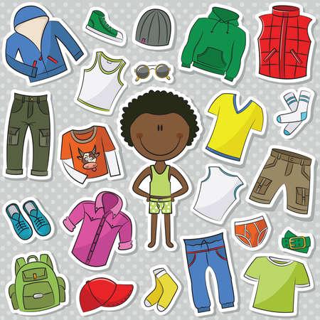 jacket: Una colección de ropa casual para niños Vectores