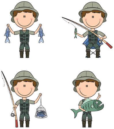 pecheur: Collection de pêcheurs dans différentes poses