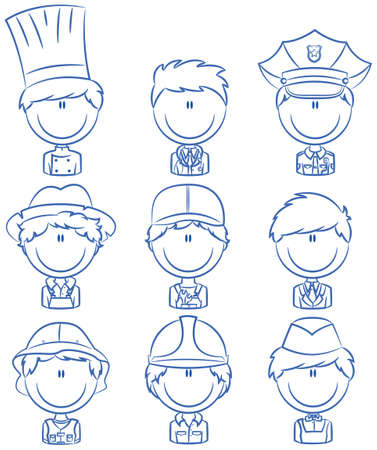 Collection of cute various professional people avatars Illustration