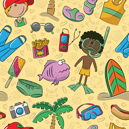 flippers: Summer seamless pattern with cute kids and beach objects Illustration
