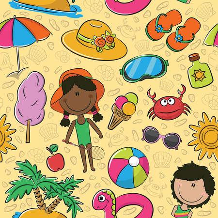 cartoon ice cream: Modelo incons�til del verano con los ni�os lindos y objetos de playa