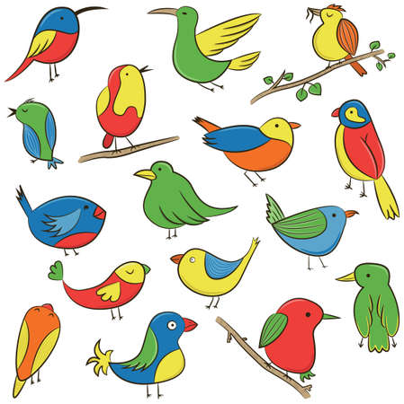 fall trees: Cute funky colorful birds