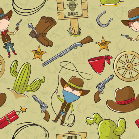 Cowboy With Wild West Objects Seamless Pattern