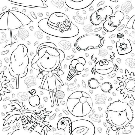 pelota caricatura: Modelo incons�til del verano con los ni�os lindos y objetos de playa