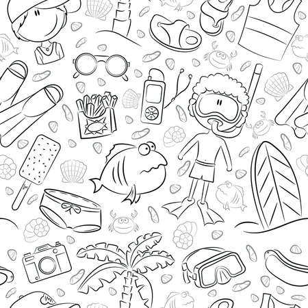 fish animal: Summer seamless pattern with cute kids and beach objects Illustration