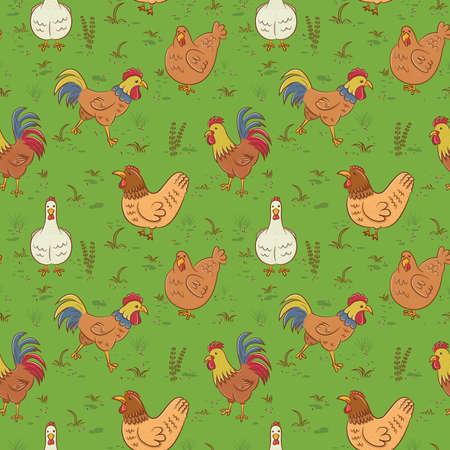 aves caricatura: Modelo inconsútil con los gallos y gallinas