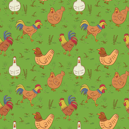 cartoon grass: Seamless pattern with roosters and hens Illustration