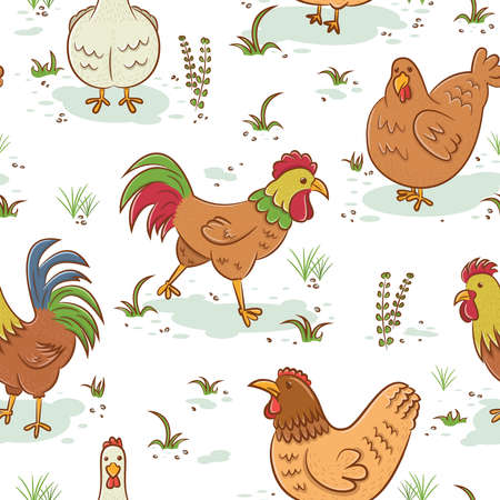 chicken wings: Seamless pattern with roosters and hens Illustration